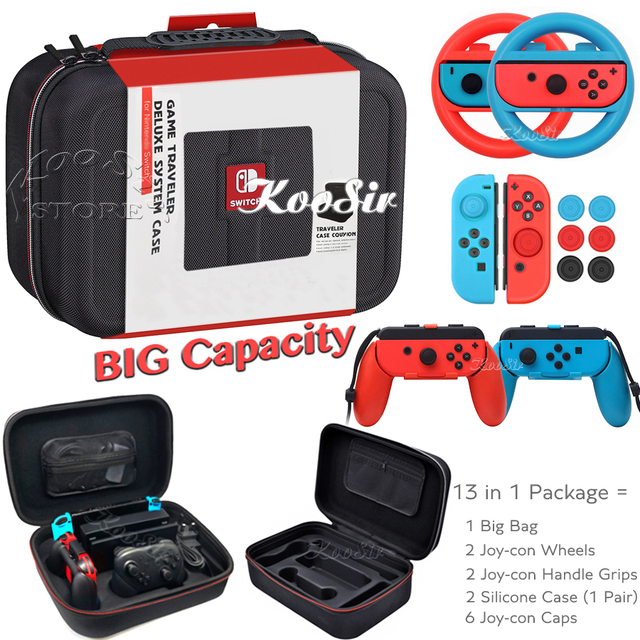 Nintendo switch ns kit de acessórios de console, bolsa de armazenamento para console, alça de controle, caixa de silicone para jogos de nintendo switch
