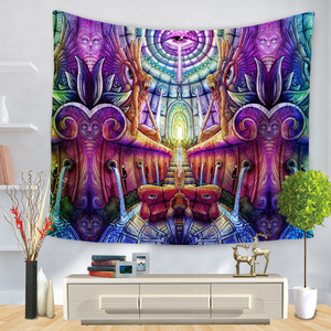 Image 5 - Cartoon Watercolor Painting Cloth Psychedelic Tapestry Wall Hanging Polyester Thin Couch Blanket Art Wall Carpets Yoga Shawl Mat