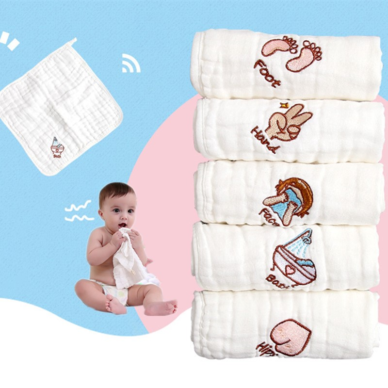 6 Layers Cotton Gauze Baby Face Towel Soft Baby Towels Wash Cloth Handkerchiefs Infant Baby Feeding Saliva Towels 30*30cm