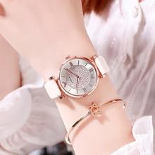 2019 New Fashion Women Bracelet Watch Brand White Leather Ladies Casual Dress Luxury Crystal Quartz Waterproof Wristwatch