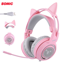 SOMIC G951 Pink Cat Headphones Virtual 7.1 Noise Cancelling Gaming Headphone Vibration LED USB Headset for Live PC
