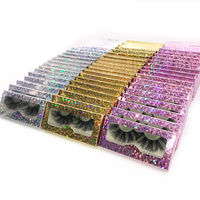 rainsin DHL 30pairs wholesale 25 mm fluffy handmade wispy makeup mink lashes bulk with packaging hologram paper box lash vendors