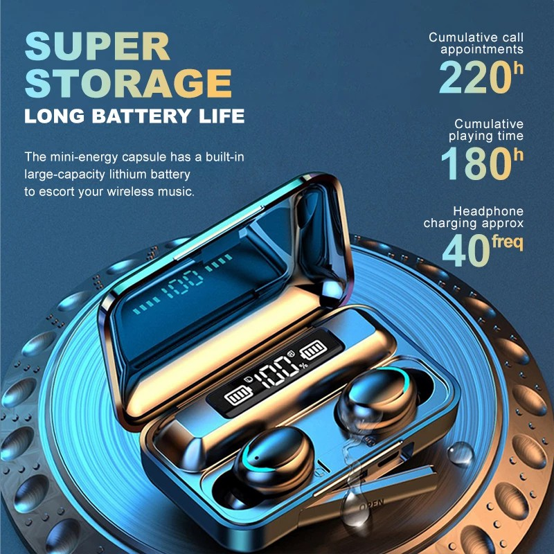New TWS Bluetooth Earphones 2200mAh Charging Box Wireless Headphone 9D Stereo Sports Waterproof Earbuds Headsets With Microphone