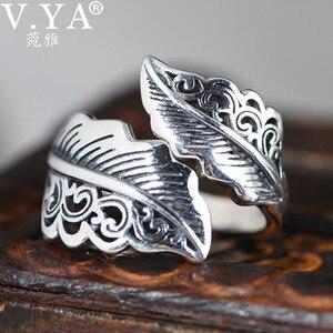 V.YA Vintage liście 925 srebro biżuteria liść pierścienie dla mężczyzn kobiety mężczyzna Homme biżuteria najwyższej jakości WTS002