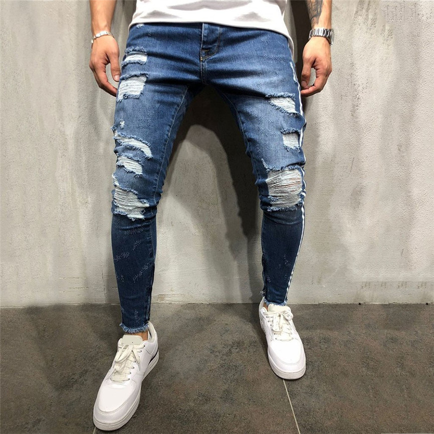 Men's Fashion Casual Denim Straight Hole Trouser Distressed Jeans Ripped Jeans For Men Ripped Jeans For Men Stretch Big Sizes