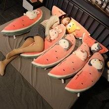 Travesseiro de pelúcia para frutas, brinquedo de pelúcia fofo com melancia, coelho, pinguim, porco, shiba, inu para comida