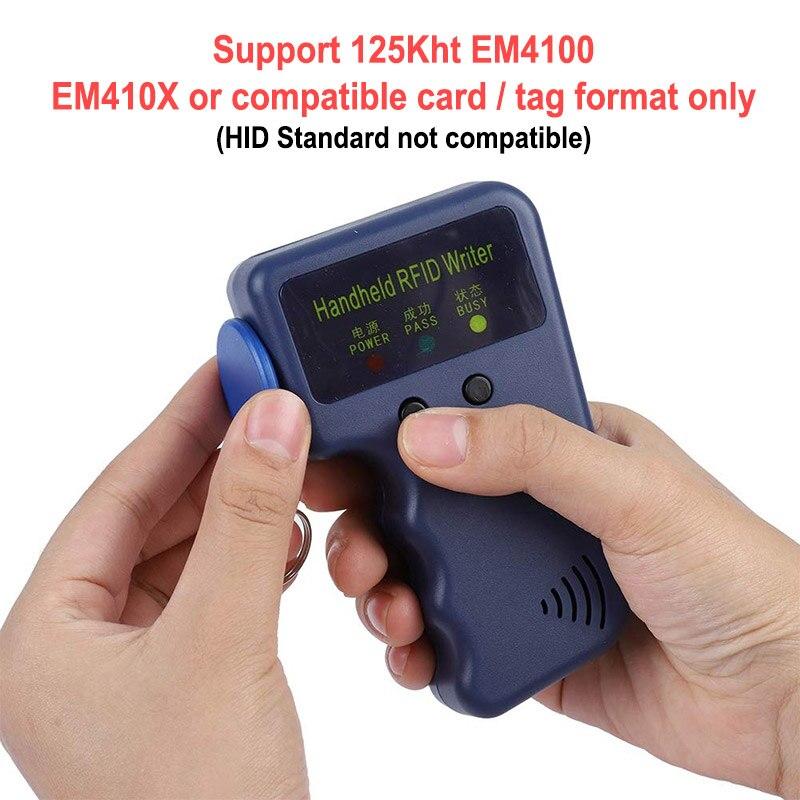Puerta de 125KHz RFID duplicador copia escritor programador lector de tarjeta de identificación de escritor copiadora duplicador + 10 piezas de escritura etiqueta tarjeta de Lector de fotocopiadora de tarjetas RFID NFC, duplicador inglés, programador de frecuencia 10 para tarjetas de ID IC y todas las tarjetas 125kHz + 5 uds. ID 125k