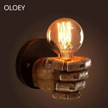 Creative Fist Resin Loft Led Wall Lamp E27 Vintage Home Decoration Bedroom Industrial Cafe Restaurant Bar Sconce Wall Light