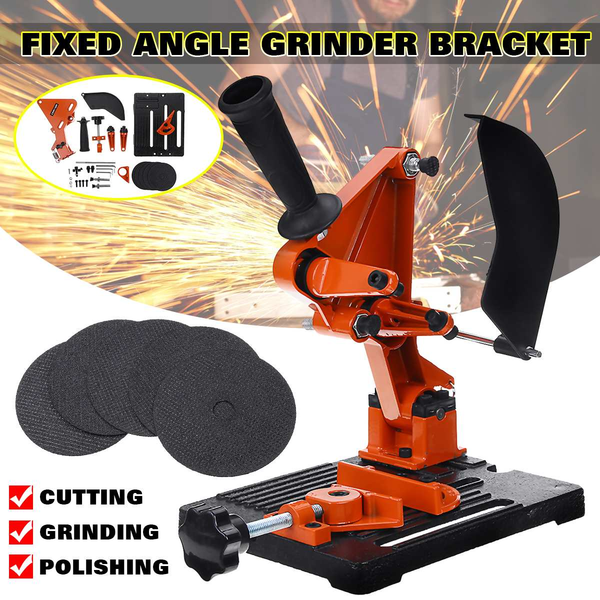220V Universal Angle Grinder Stand Bracket Holder Multi-angle Adjustable Metal Cutting Machine Support Power Tools Accessories