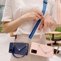 Funda tipo billetera con correa cruzada para Xiaomi Redmi 9A, 9C, NFC, Note 10, 5 Plus, 9, 7, 6 Pro, 10S, 9T, 9S, cordón de cadena