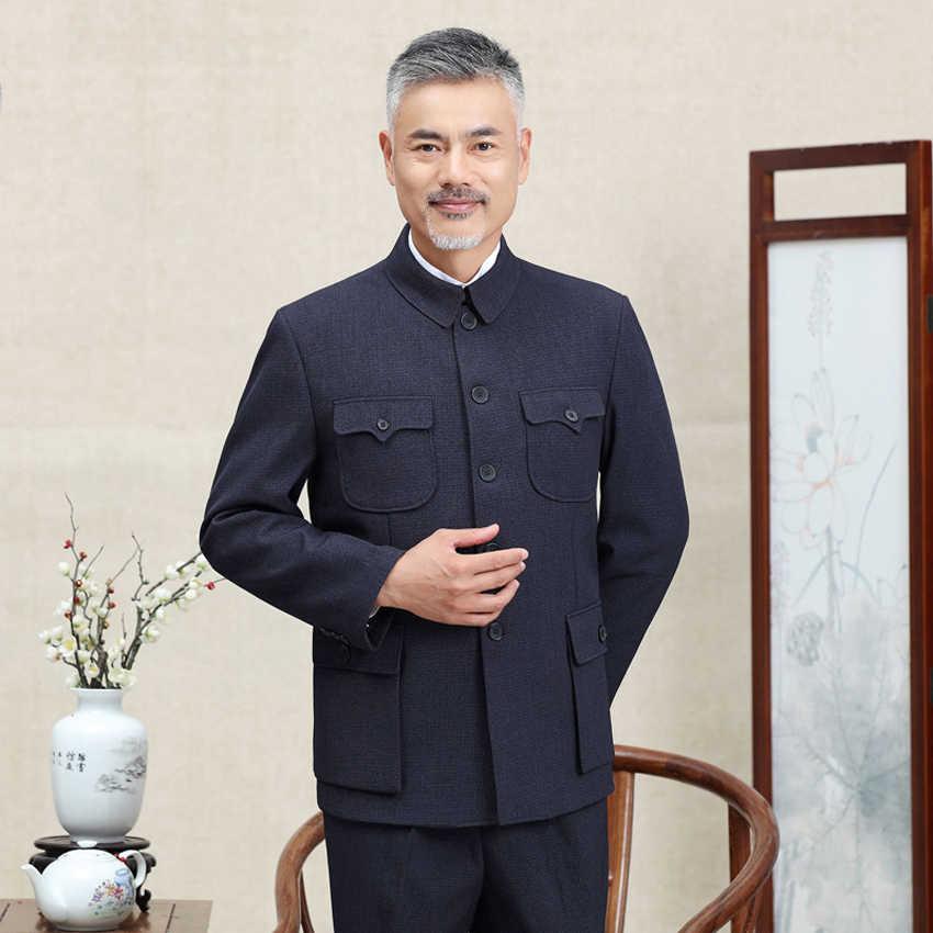 Traditionele Chinese Tang Pak Voor Mannen Jas Jas Nieuwe Jaar Lente Festival Tuniek Zhongshan Mao Pak Blazer Breien Zakken Top