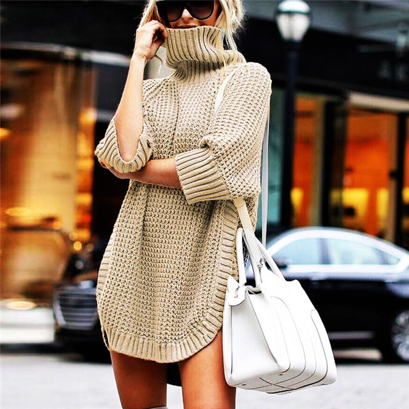 Fashion Women Casual Irregular Sweater Dress Solid Long Sleeve Half Sleeve Knitted Sweater Top Pullover Feminino 50Au2917