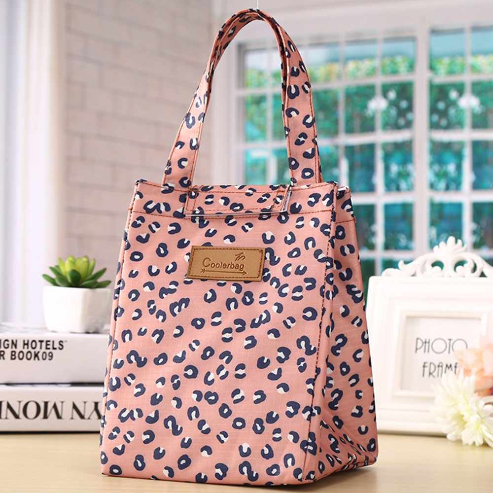 Leopard Print Lunch Bag Portable Cooler Insulated Picnic Bento Tote Travel Fruit Drink Food Organizer Lunch Container for Girls
