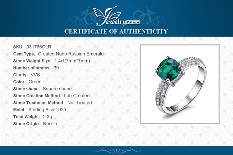 H3bf6af8654304cd28cbe575f145e00819 JewelryPalace Cushion Created Nano Emerald Ring 925 Sterling Silver Rings for Women Engagement Ring Silver 925 Gemstones Jewelry