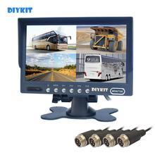 "DIYKIT 4PIN DC12V 24V 7"" 4 Split Quad LCD Screen Display Color Rear View Car Monitor for Car Truck Bus Reversing Camera"