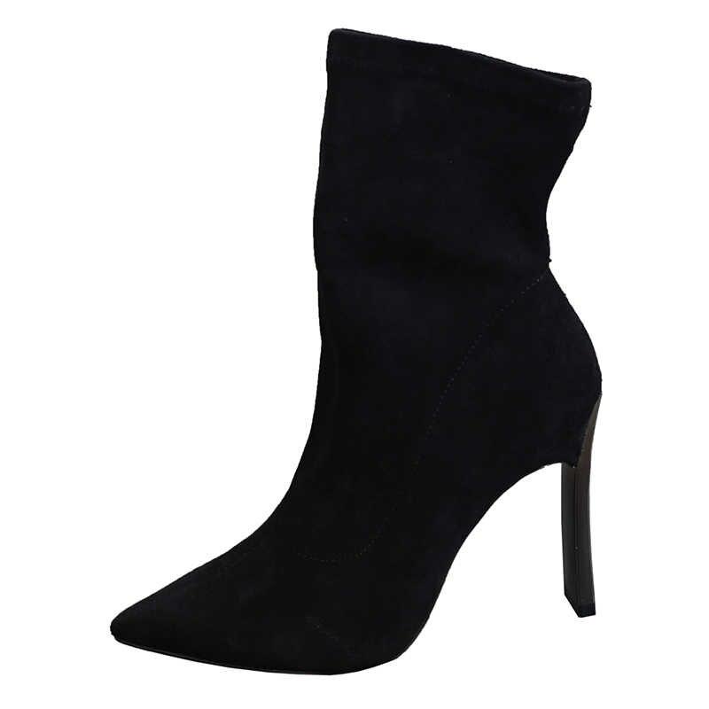 2019 kış yeni Martin çizmeler kadın Rhinestones yüksek topuklu kalın çizmeler kadın ilkbahar ve sonbahar moda tek yüksek topuk çizmeler