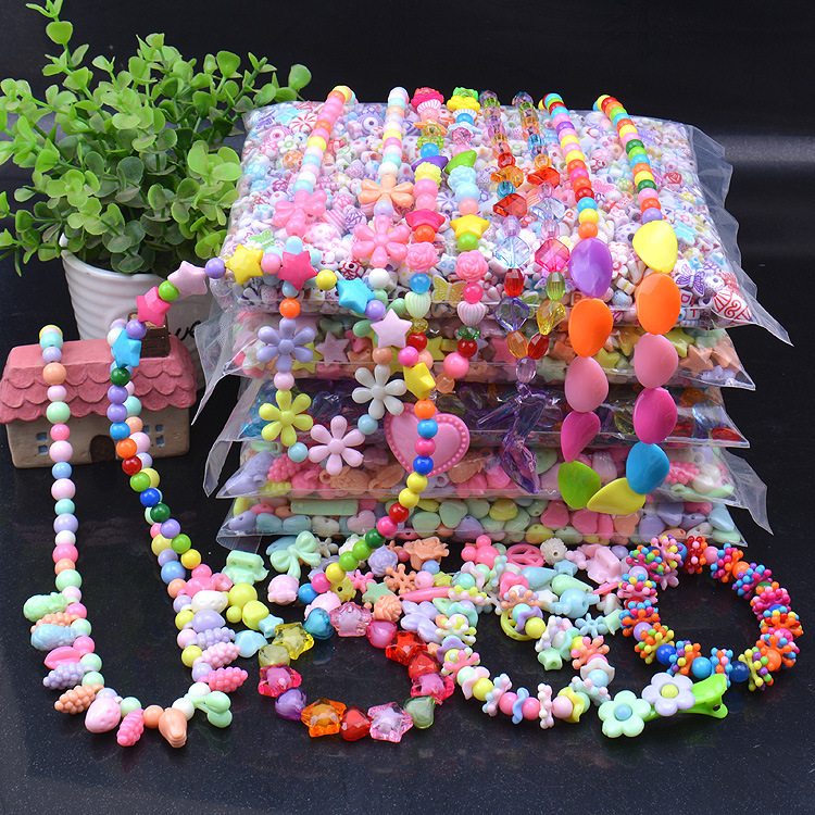 Diy Children's Beads Material Acrylic Loose Beads Ice Cream Sky Color Round Beads Acrylic Solid Color Beads
