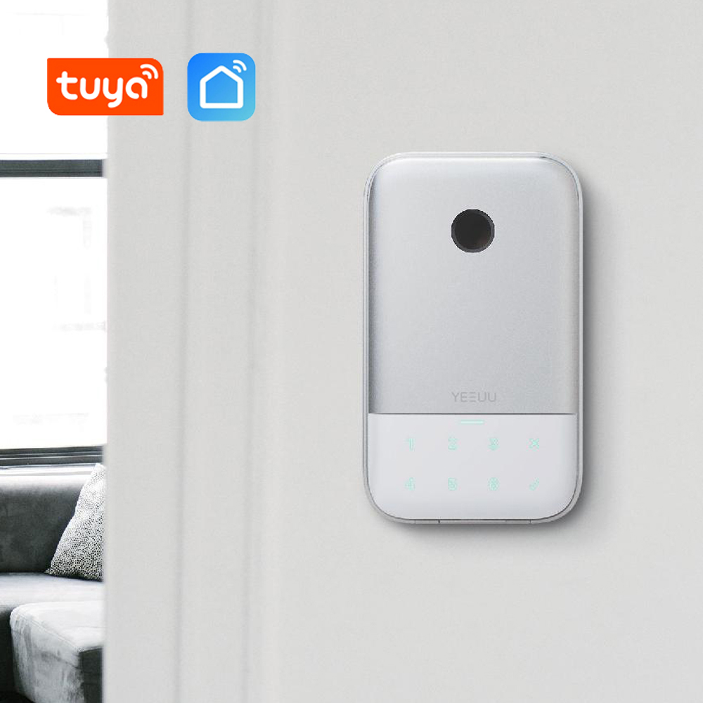 Tuya Smart Key Lock Box Fingeprint Key Safe Bluetooth Wireless Network Password Aluminum Alloy Key Storage Lock Box Weatherproof