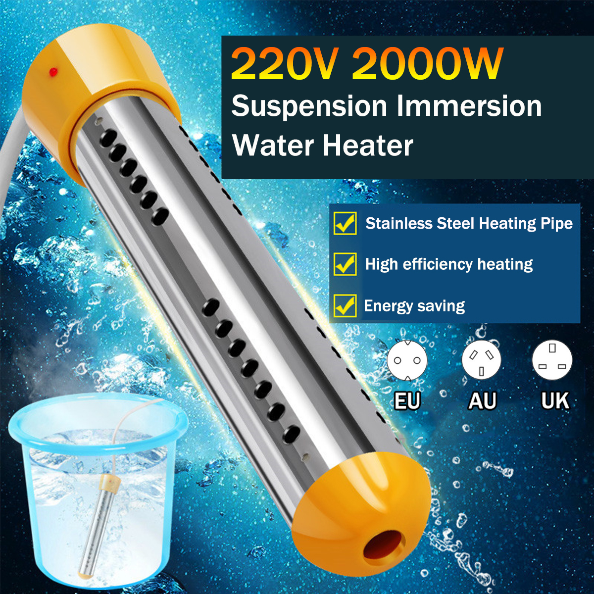 2000W Floating Electric Heater Boiler Water Heating Element Portable Immersion Suspension Bathroom Swimming Pool AU/EU/UK Plug(China)