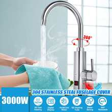 3S Fast Heating Electric Water Heater Faucet 360 Degree Temperature Display 3000W Kitchen Tankless Instant Hot Water Faucet