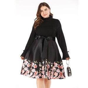 Плюс размер 4XL 5XL Элегантный цветочный принт Черный винтажный 2019 осень зима длинный рукав большие качели молнии Туника Pin Up женское платье