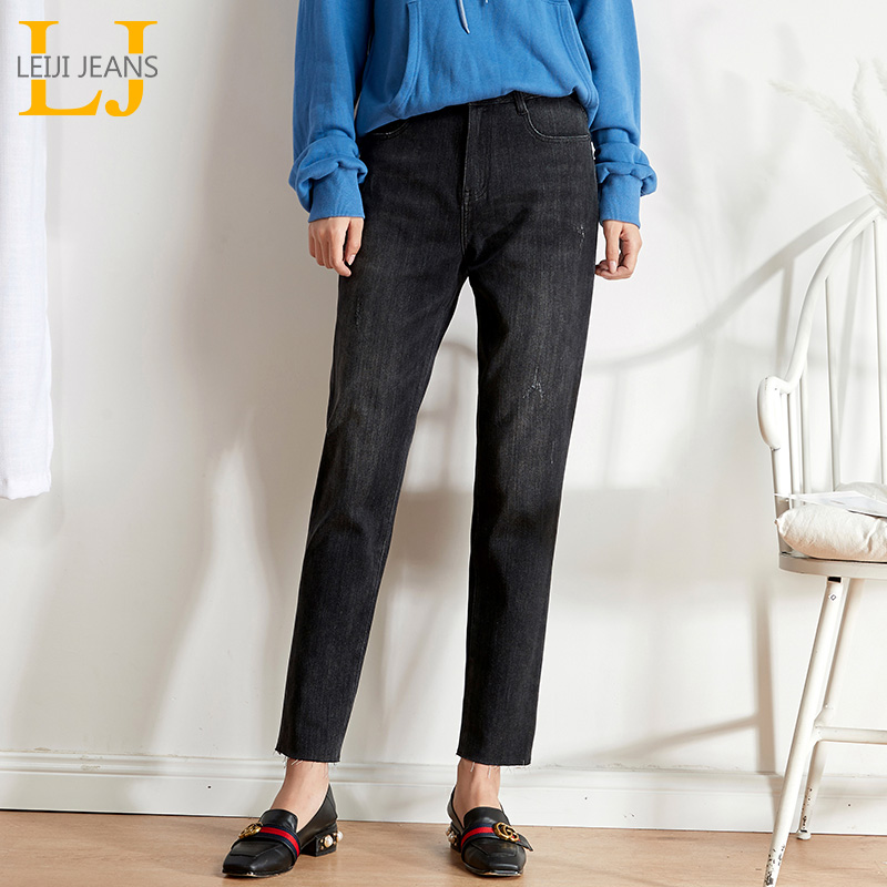 LEIJIJEANS 2019 Autumn New Arrival Plus Size Women Jeans High Waist Harlan Ladies Jeans Black Washing Slim Women Jeans 9206
