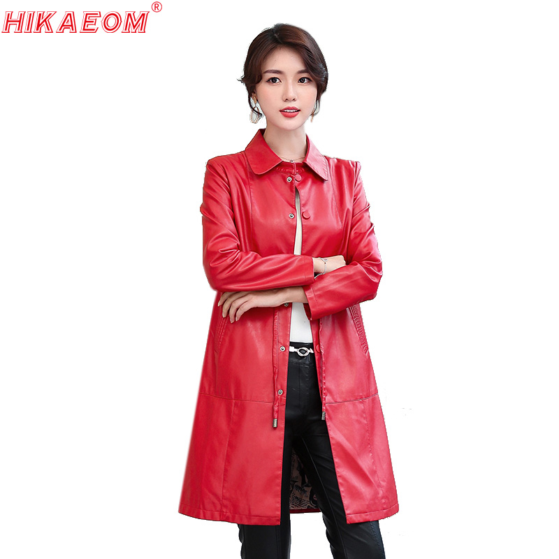 Autumn   Leather   Coat Women New Coat Female Fashion Solid Turn Collar Single Breasted Button Belt Pockets Women's Coats 2019 New