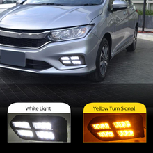 CSCSNL 2Pcs  LED DRL For Honda City 2017 2018 2019 LED Daytime Running Light daylight fog lamp cover with Yellow Turn Function