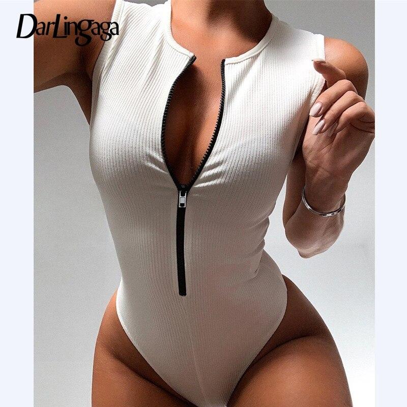 Женское облегающее боди Darlingaga, облегающее боди на молнии, базовый топ без рукавов, летний цельный комбинезон| | - AliExpress