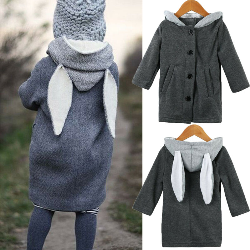0-8Y Autumn Winter Toddler Kid Girls Boys Wool Coat Cute Rabbit Ear Hooded Coat Warm Jacket Outwear Windbreaker