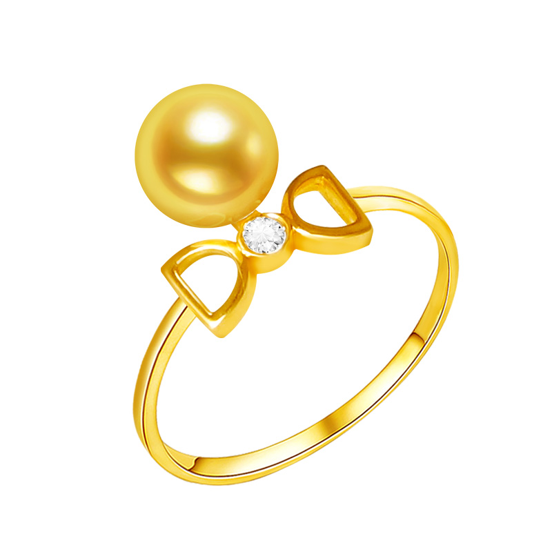 [YS] 18K Solid Gold Ring 6-7mm Genuine Gold & White Japanese Akoya Pearl Unique Engagement Ring