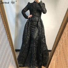 Мусульманские черные вечерние платья с кристаллами и длинным рукавом 2020 Роскошные вечерние платья русалки высокого качества размера плюс LA70419