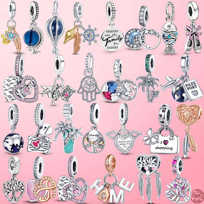 HOT SALE 925 Sterling Silver Sparkling Family Tree Dangle Charm Beads Fit Original Pandora Bracelet Pendant Necklace Jewelry