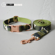 Camouflage style nylon bow dog collar leash set bowknot Labrador pet straps products training rose gold