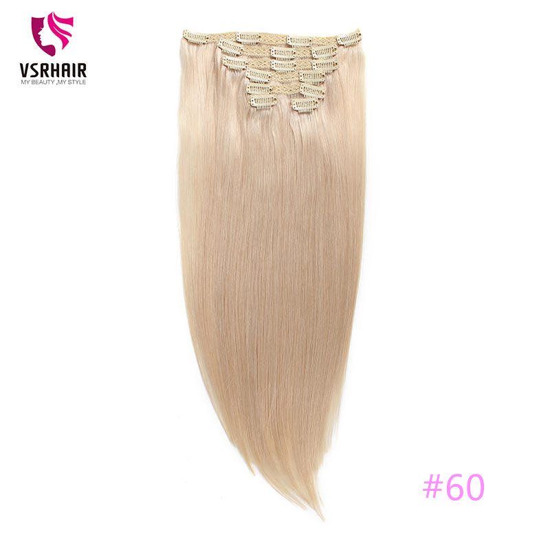 VSR  Machine Made Remy European 7 Pcs Clip In Hair 100% Human Hair Extensions  Full Head Set Clip Ins For Women