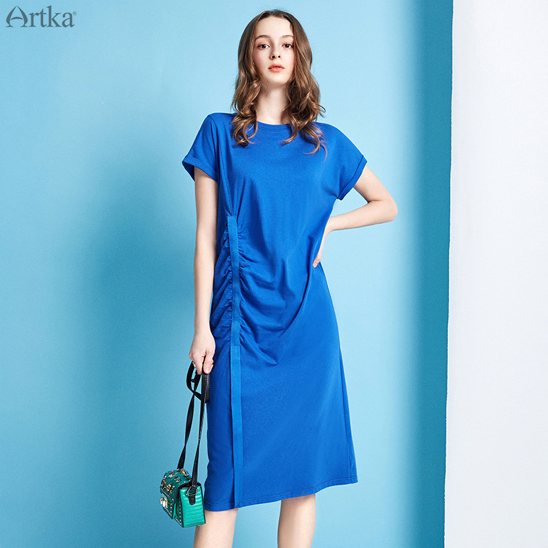 ARTKA 2019 Summer New Women Dress Casual Loose Solid Color T-shirt Dress Folded Webbing Design Dresses For Women ZA10192X image