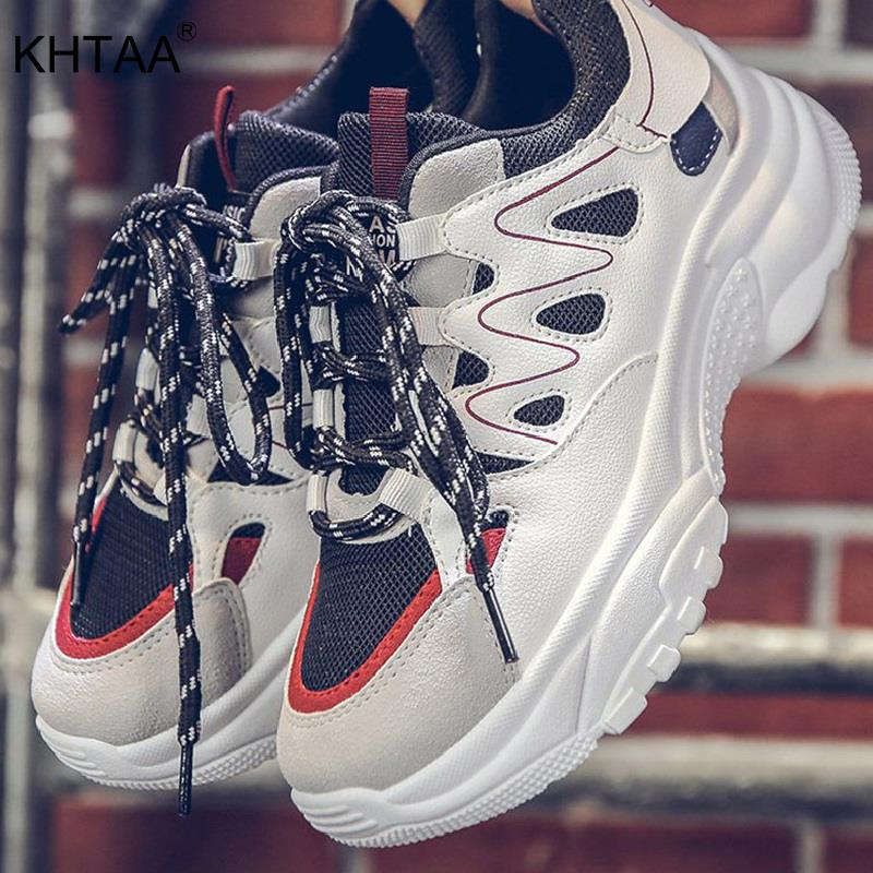 KHTAA Women Mesh Mix Color Sneakers Woman Shoes Lace Up Vulcanize Female Casual Platform Shoes Ladies Fashion Walking Comfort