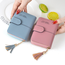 Short Zipper Coin Purse Tassel Cards Holder Wallet SF