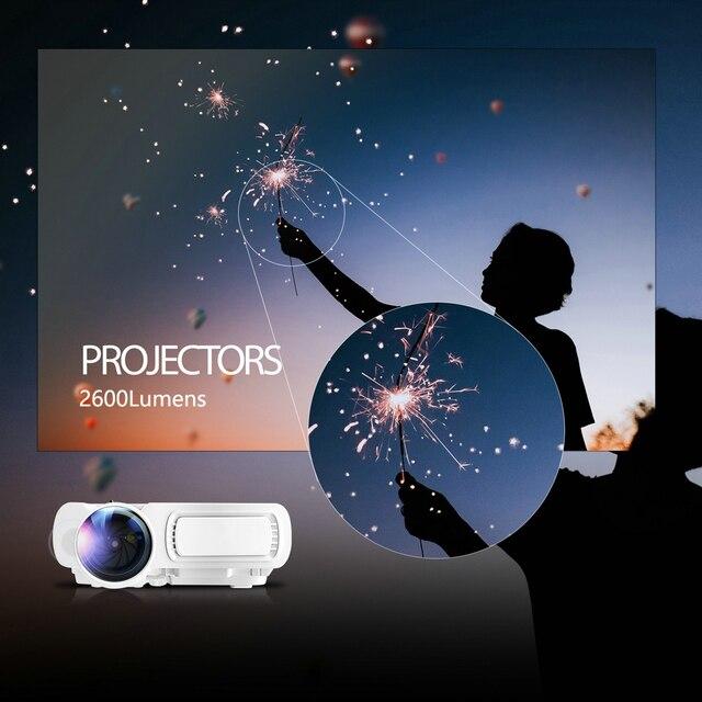 Potężny mini projektor T5 obsługuje kino domowe 720P 170 HD LED kompatybilny z TV stick,PS4,HDMI,VGA,TF,AV i USB