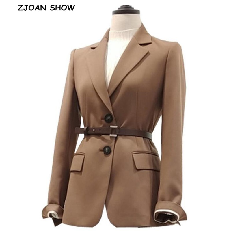 2019 Autumn Elegant Solid Color Single-breasted With Belt Blazer Chic Women Long Sleeve Mid Long Suit Office Lady Coat Outwear