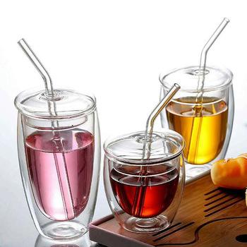 450ml dwuwarstwowy szklany izolowany deser kawy kubek z pokrywką słomkowy dzbanek do mleka przezroczysty uszczelniony kubek kreatywny drinkware tanie i dobre opinie CN (pochodzenie) ROUND CE UE Lfgb Szkło Ekologiczne Na stanie