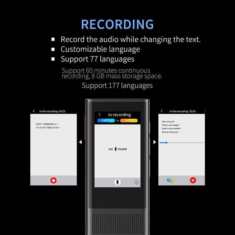 BOELEO W1 3.0 Smart Voice Pocket Language Translator for Business and Travel with 1GB RAM and 8GB ROM Supports 117 Languages along with 2.8 inch Screen 3