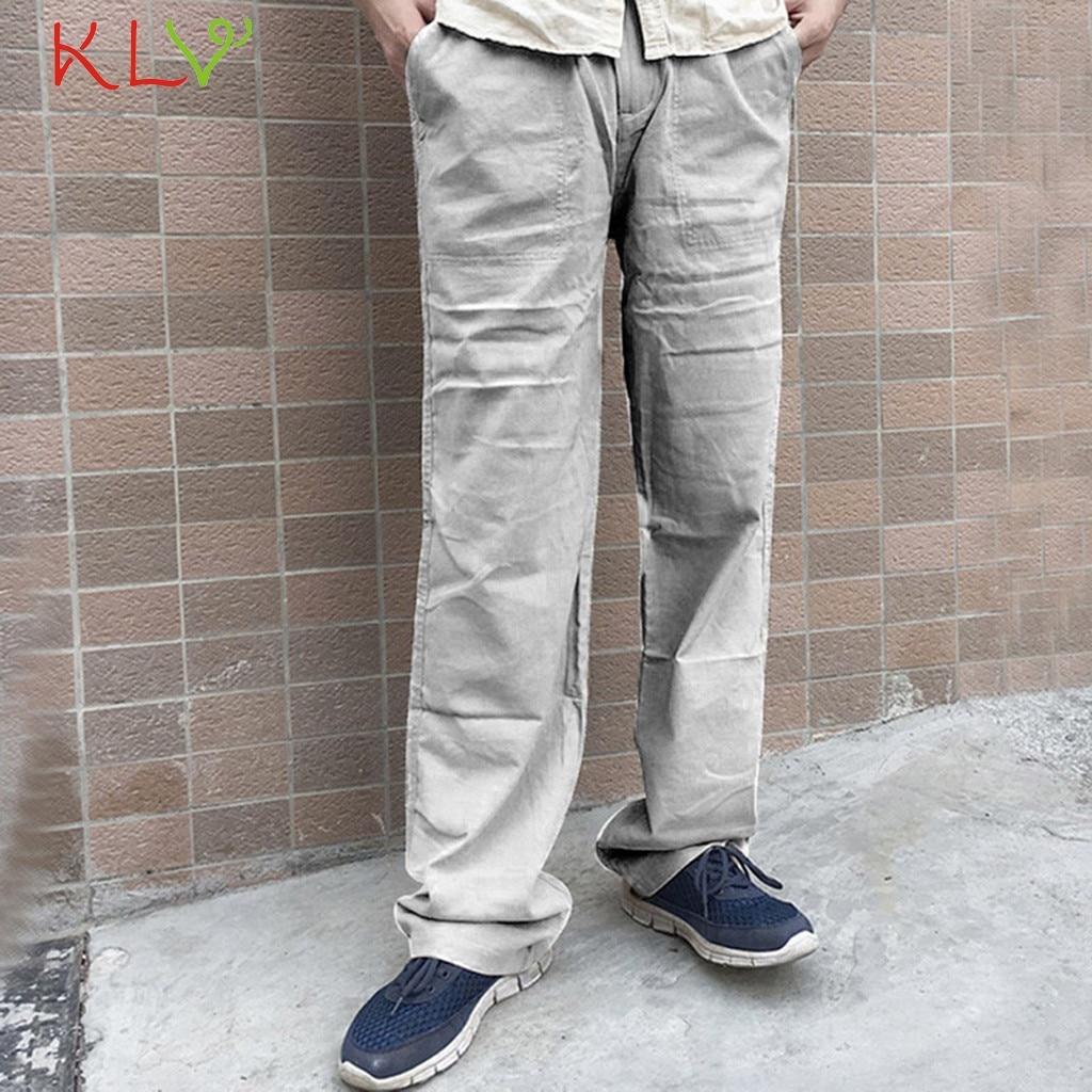 Pants Mens Cotton Linen Solid Color Casual Loose Long Trousers Elastic Waist Straight Male Pantalones Hombre Cortos 2019 19Aug