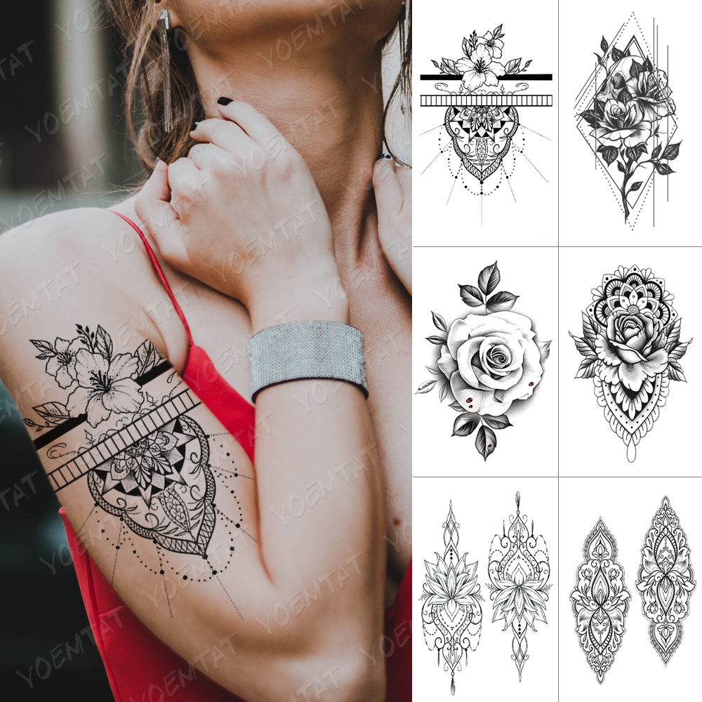 Waterproof Temporary Tattoo Sticker Mandala Henna Flash Tattoos Rose Flower Body Art Arm Water Transfer Fake Tatoo Women Men
