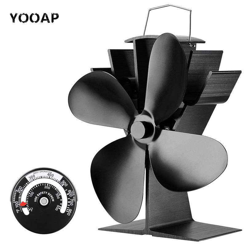 Fireplace Fan Tools Set, Heat Powered 4 Blade Stove Fan And Fireplace Thermometer, Silent Operation, ECO Fan For Stove