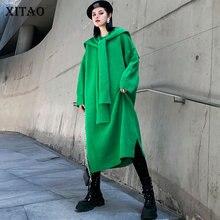 Женское трикотажное платье XITAO, элегантное платье составного кроя в Корейском стиле с длинными рукавами, большие размеры, зима 2019