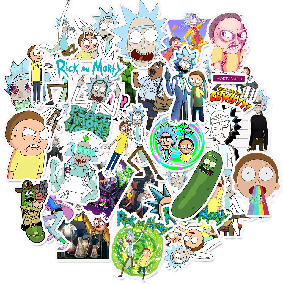 50pcs Set Waterproof Cartoon Rick And Morty Stickers Skateboard Suitcase Guitar Luggage Laptop Diy Stickers Kid Classic Toy
