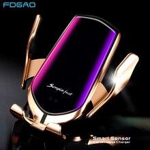Fixação automática sensor infravermelho 10 w carregador sem fio do carro de montagem para o iphone 11 xs xr x 8 samsung s10 s9 qi carregamento rápido titular