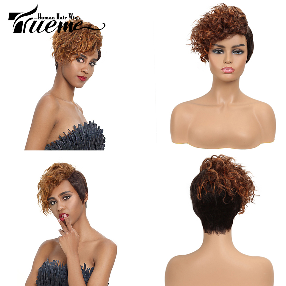 Trueme Short L Part Lace Ombre Human Hair Wigs Blue Brown Green Remy Brazilian Hair Wigs Curly U Part Lace Front Wigs For Women
