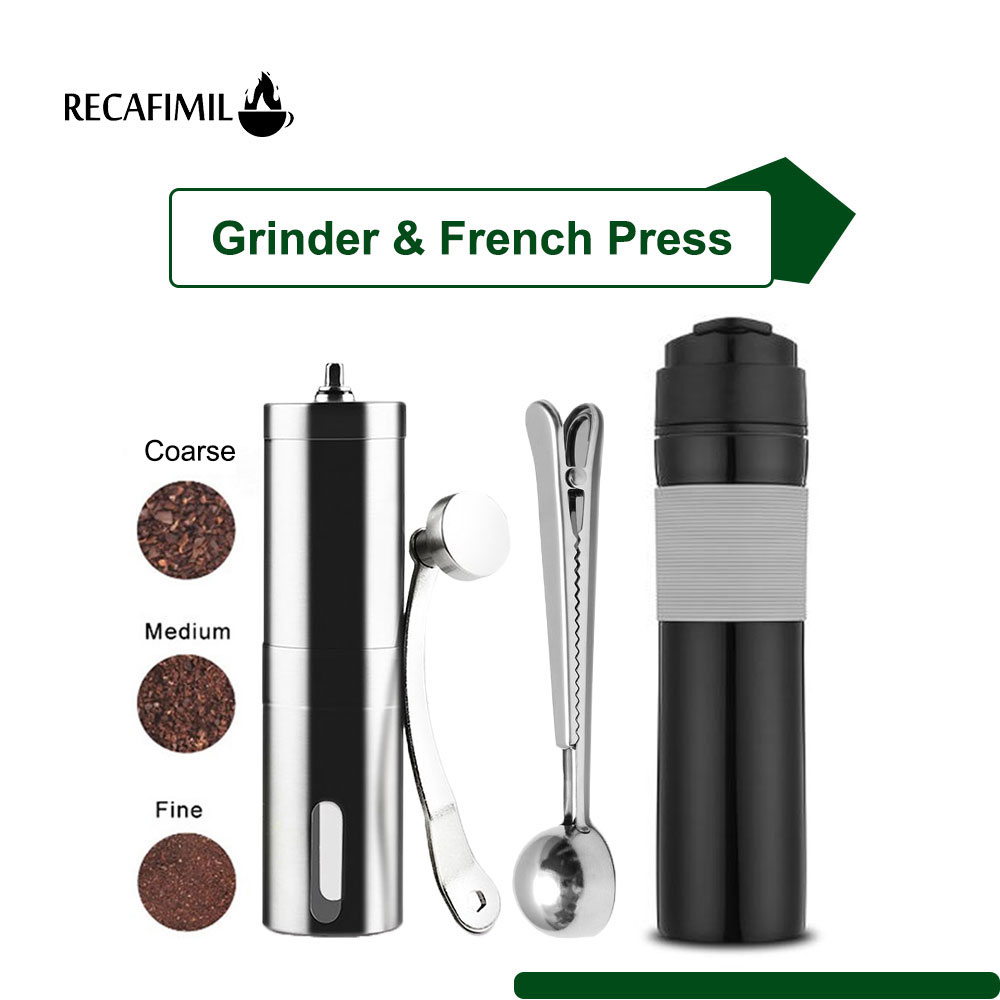 French Press Maker Portable for Coffee & Tea 350Ml  Stainless Steel manual Grinder Spoon Clip for Coffee Bean Bag Coffee Bottle